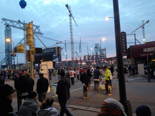Marathon morning near Vikings stadium being rebuilt