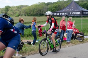 Mom on bike course high fiving me :)